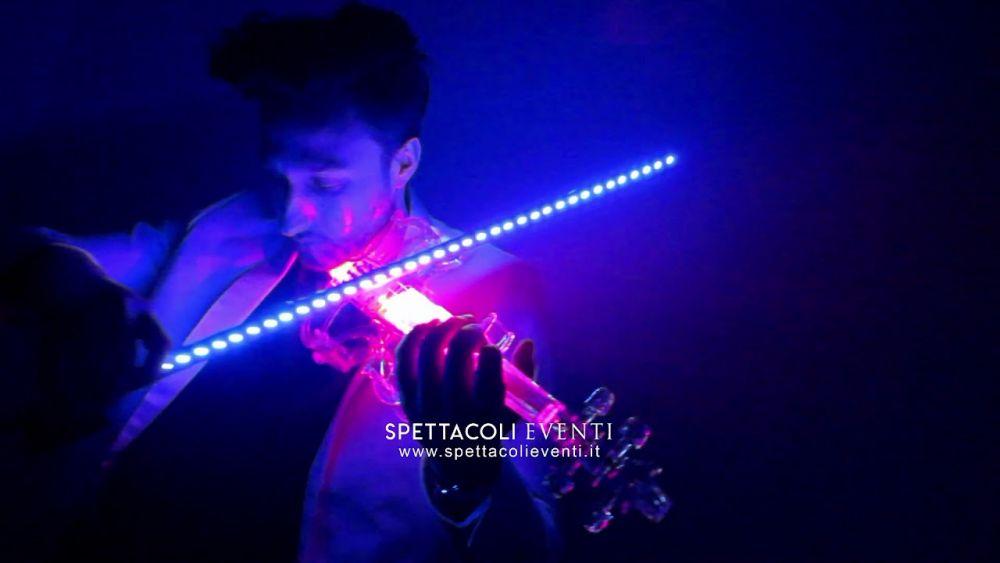 Spettacolo violino luminoso led e laser